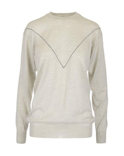 f45ef60cf96 Céline Contrast Cashmere Sweater in White - Save 77% - Lyst