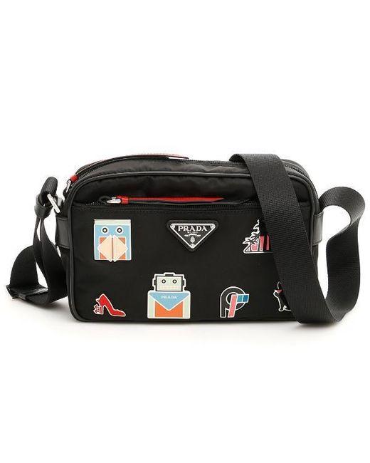 8068aadc9b7cdc Lyst - Prada Robot Embellished Camera Bag in Black