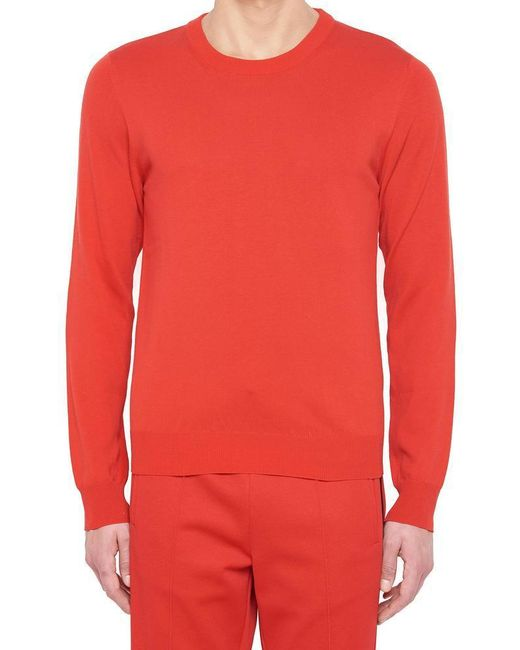 Maison Margiela - Red Elbow Patches Knit Sweater for Men - Lyst