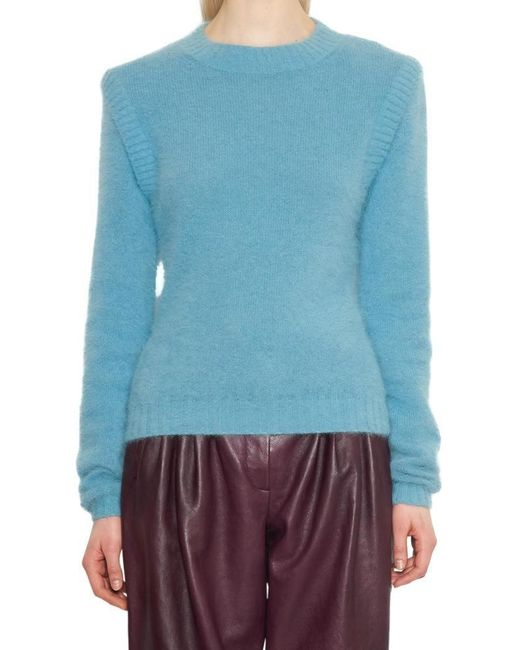 Alberta Ferretti - Blue Structured Shoulder Crewneck Jumper - Lyst