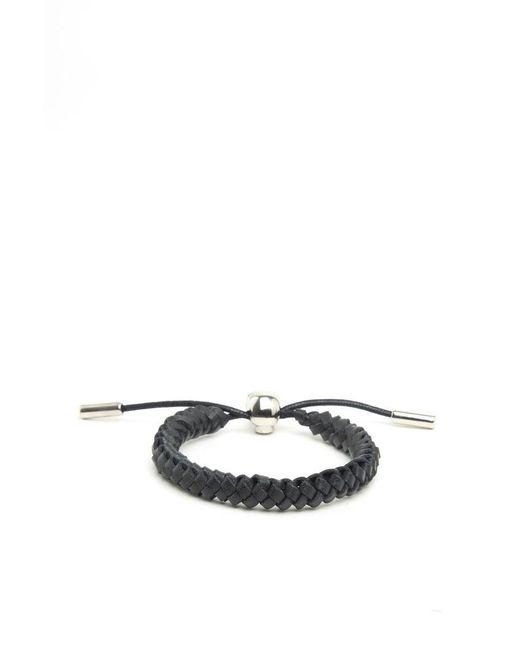 Alexander McQueen - Black Woven Leather Bracelet - Lyst