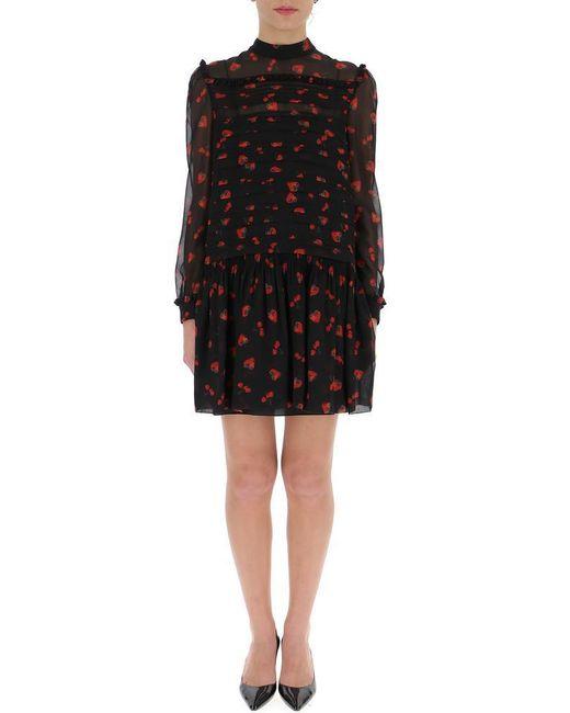 Miu Miu - Black Pleated Cherry Print Dress - Lyst
