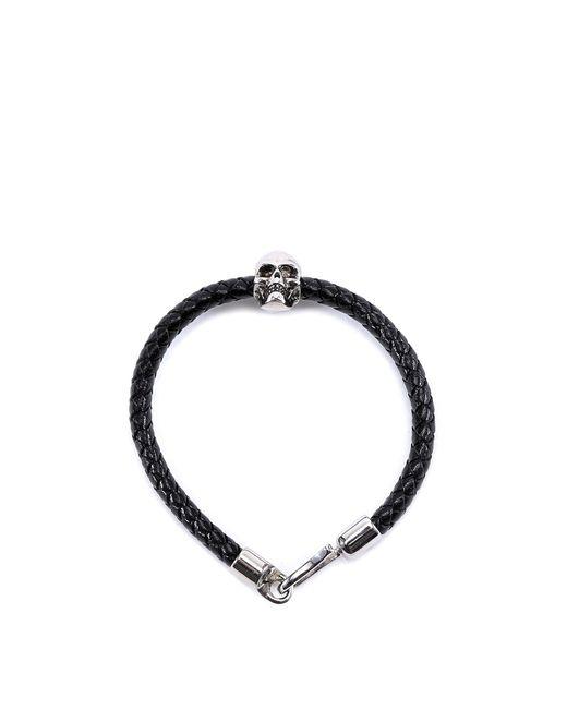 Alexander McQueen - Black Skull Detail Leather Bracelet for Men - Lyst