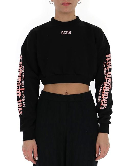 Gcds - Black Cropped Sweater - Lyst