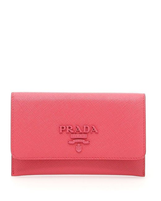 Prada - Pink Leather Folding Wallet - Lyst
