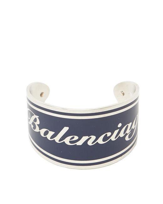 Balenciaga - Blue Logo Cuff Bracelet - Lyst