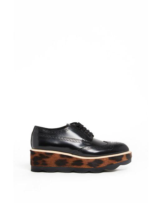 Prada - Black Leather Platform Derby Shoes - Lyst