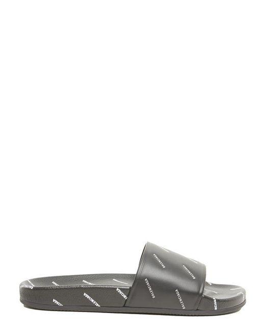 Balenciaga - Black Logo Print Slides - Lyst