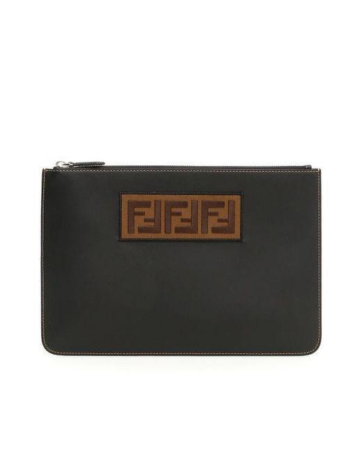 0a557b0495dc Lyst - Fendi Ff Logo Clutch in Black