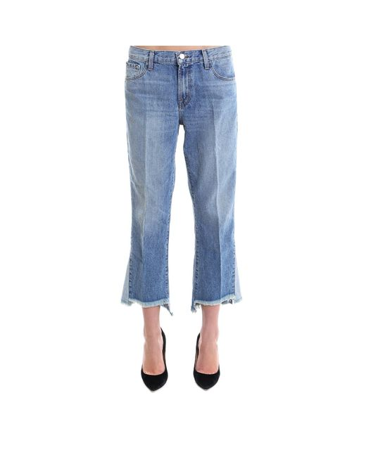 0aaf4ad826a5 J Brand Frayed Hem Cropped Jeans in Blue - Lyst