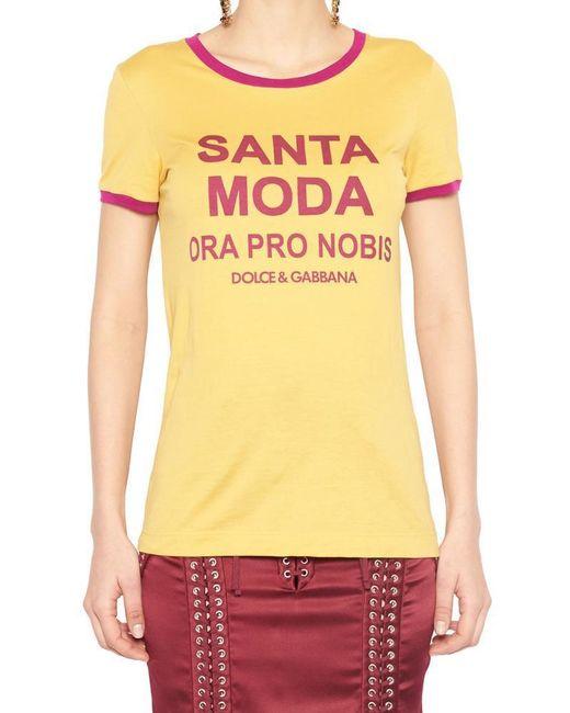 Dolce & Gabbana - Yellow Slogan Contrast Trim T-shirt - Lyst