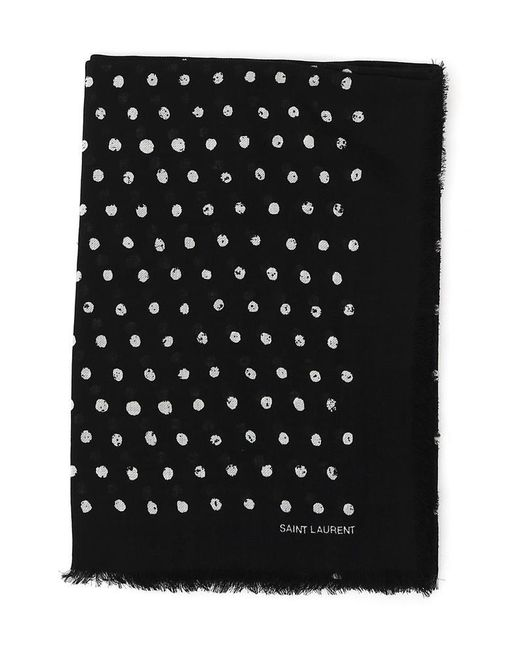 Saint Laurent - Black Polka Dot Print Scarf - Lyst