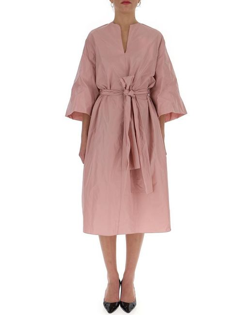 The Row - Pink Belted Midi Dress - Lyst
