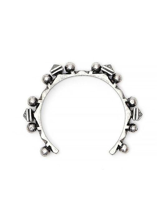 Saint Laurent - Metallic Brass Textured Bracelet - Lyst