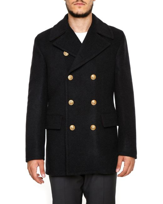 Dolce & Gabbana - Gray Double Breasted Short Coat for Men - Lyst
