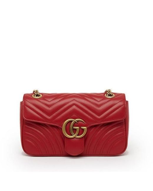 422e60f36a287b Lyst - Gucci GG Marmont 2.0 Matelassé Shoulder Bag in Red