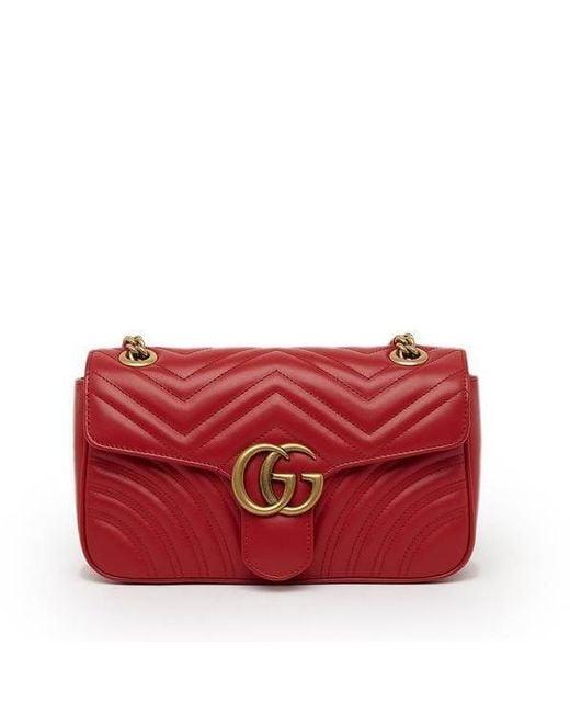 f616fc50b4d4 Lyst - Gucci GG Marmont 2.0 Matelassé Shoulder Bag in Red