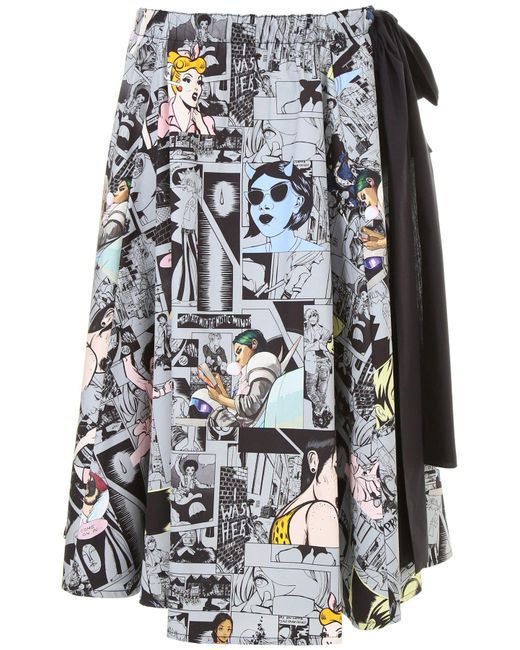 Prada - Black All-over Comics Print Cotton Midi Skirt - Lyst