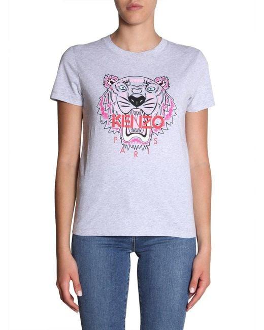 437f6d7e KENZO Tiger Print T-shirt in Gray - Lyst