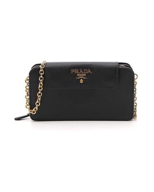 0102a1cd083b ... authentic prada black saffiano zip clutch bag lyst d1ef0 9822e