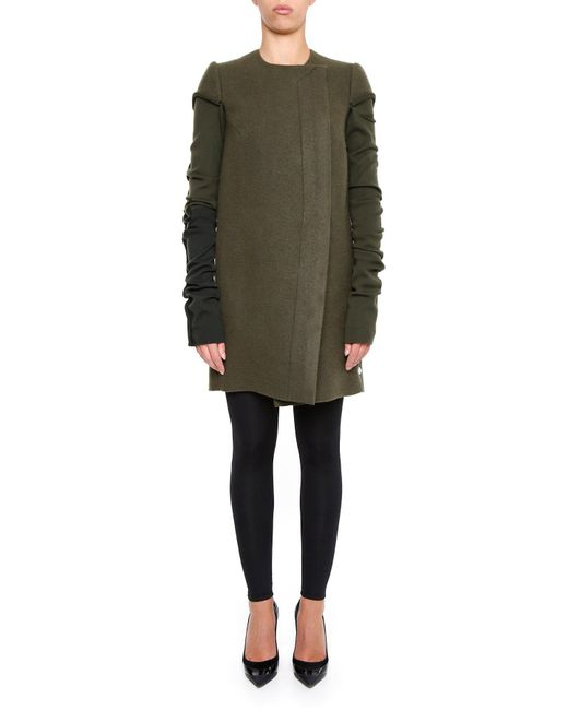 Rick Owens - Green Cut Out Jersey Coat - Lyst