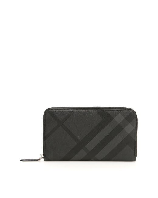 176592e566d Lyst - Burberry London Check Zip Around Wallet in Gray