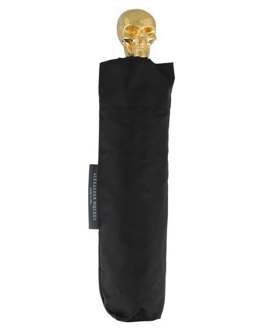 Alexander McQueen Black Foldable Skull Umbrella