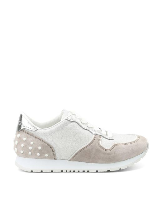 Tod's - White Studded Detail Lace-up Sneakers - Lyst