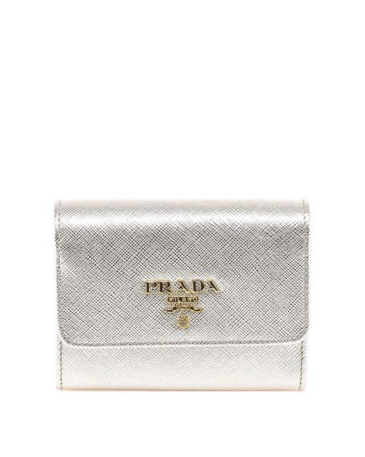 Prada - Metallic Tri Fold Wallet - Lyst
