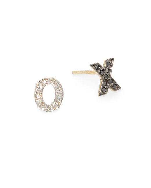 Kacey K | Metallic Diamond & 14k Gold Hugs & Kisses Stud Earrings | Lyst