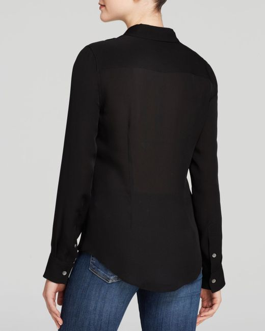 Theory | Black Top - Tenia Silk Georgette | Lyst