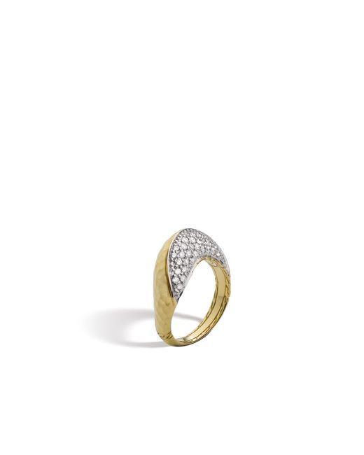 John Hardy | Metallic Classic Chain Hammered Ring With Diamonds | Lyst