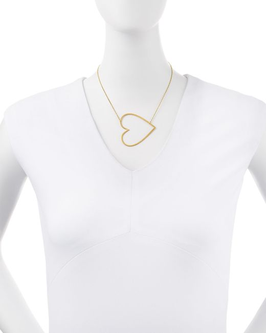Jennifer Zeuner | Metallic Integrated Heart Pendant Necklace | Lyst