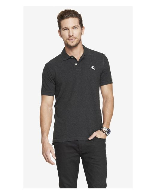 Express | Modern Fit Small Lion Pique Polo - Gray Heather for Men | Lyst