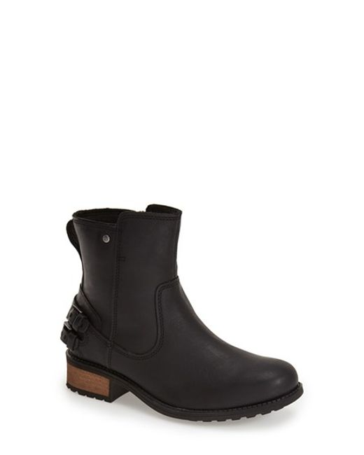 UGG | Black Orion Leather Ankle Boots | Lyst