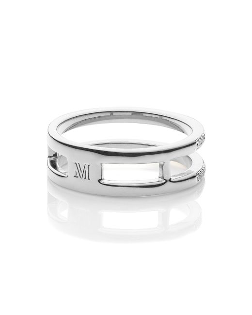 Monica Vinader | Metallic Skinny Double Band Ring | Lyst