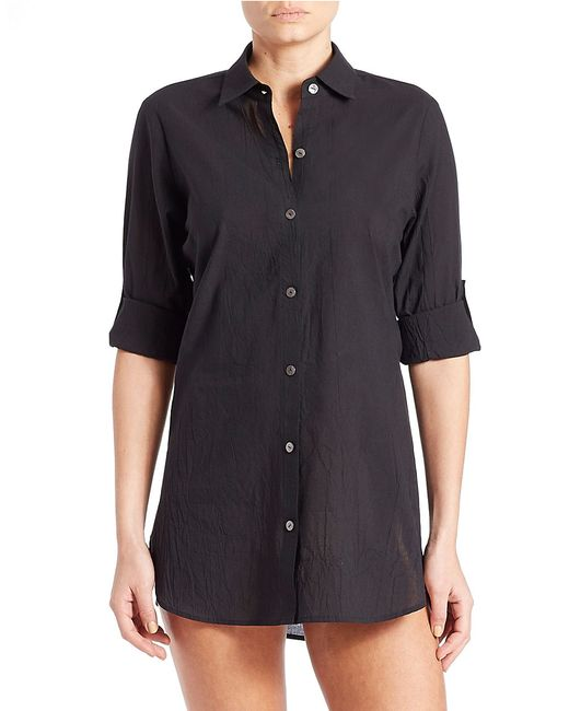 Tommy bahama button down swim cover up in black lyst for Mens dress shirt button covers