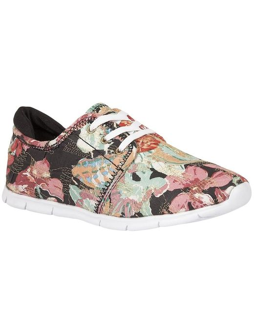 Lotus | Black Meadow Floral Print Lace Up Trainers | Lyst