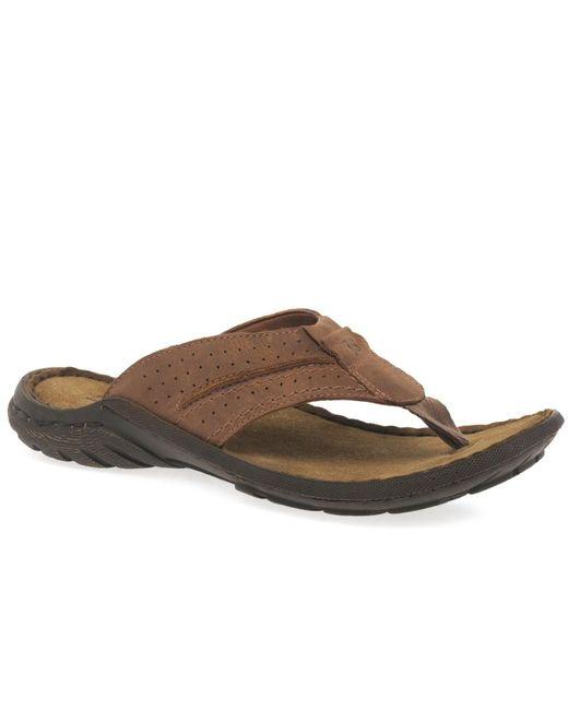 Josef Seibel - Brown 'logan 25' Toe Post Mens Sandals for Men - Lyst