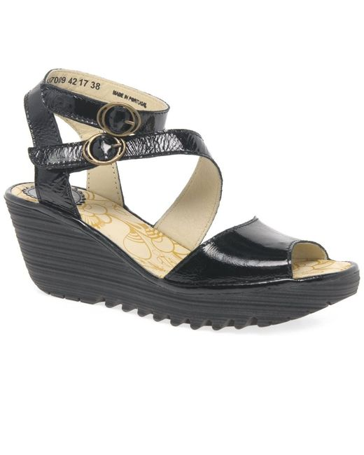 Fly London - Black Yisk Womens Wedge Heel Sandals - Lyst