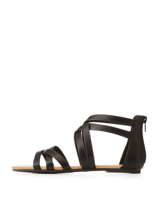 Charlotte Russe - Black Strappy Flat Sandals - Lyst