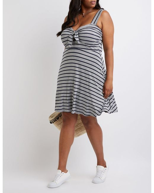 Lyst - Charlotte Russe Plus Size Striped Skater Dress in Blue