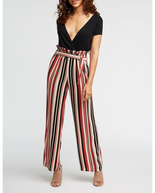 0f2aade0f9e Charlotte Russe - Multicolor Paperbag Striped Jumpsuit - Lyst
