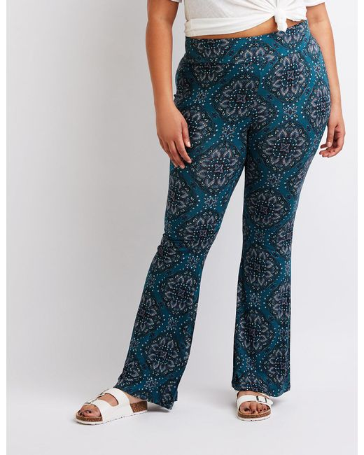 Charlotte Russe - Green Plus Size Paisley Flare Pants - Lyst