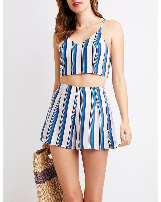 Charlotte Russe - Blue Striped High Waist Shorts - Lyst