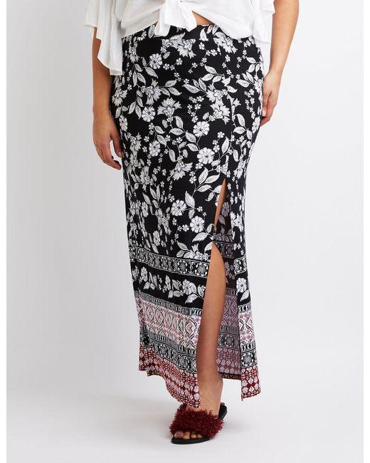 b6cfdca70 Charlotte Russe - Black Plus Size Border Print Maxi Wrap Skirt - Lyst