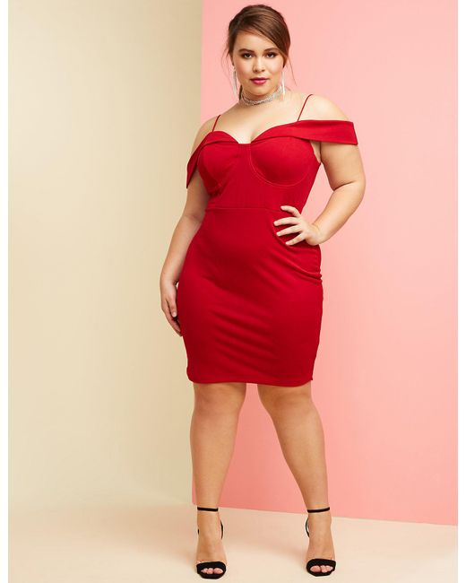 Lyst - Charlotte Russe Plus Size Wired Bust Bodycon Dress in Red