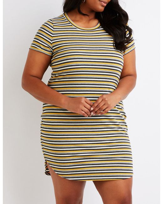 Women\'s Plus Size Striped Ribbed Dress