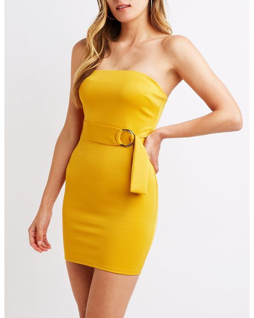 Charlotte Russe - Yellow Strapless O-ring Bodycon Dress - Lyst