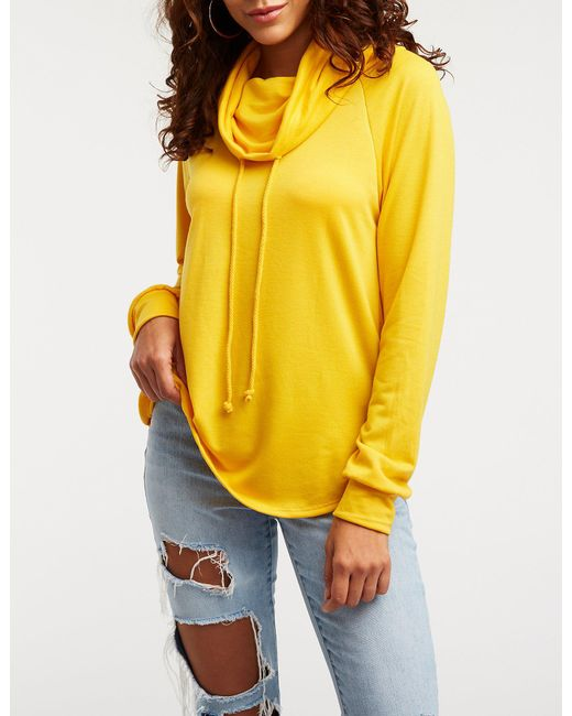 52fda4857 Lyst - Charlotte Russe Drawstring Funnel Sweatshirt in Yellow - Save ...